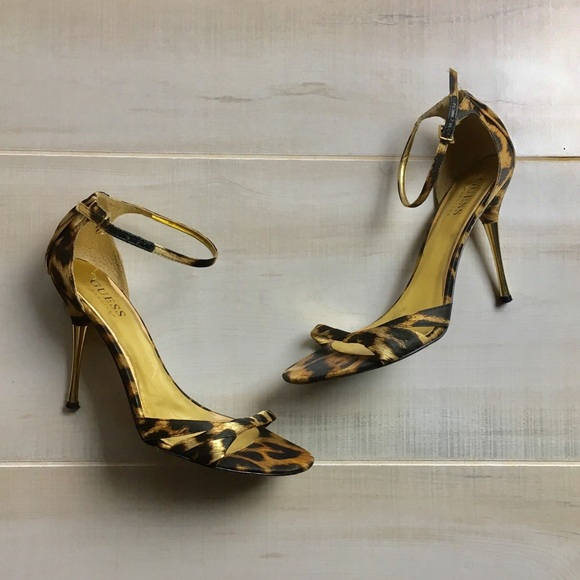 56af6cd31960 Guess by Marciano Shoes | Gold Leopard Strappy Heels | Poshmark